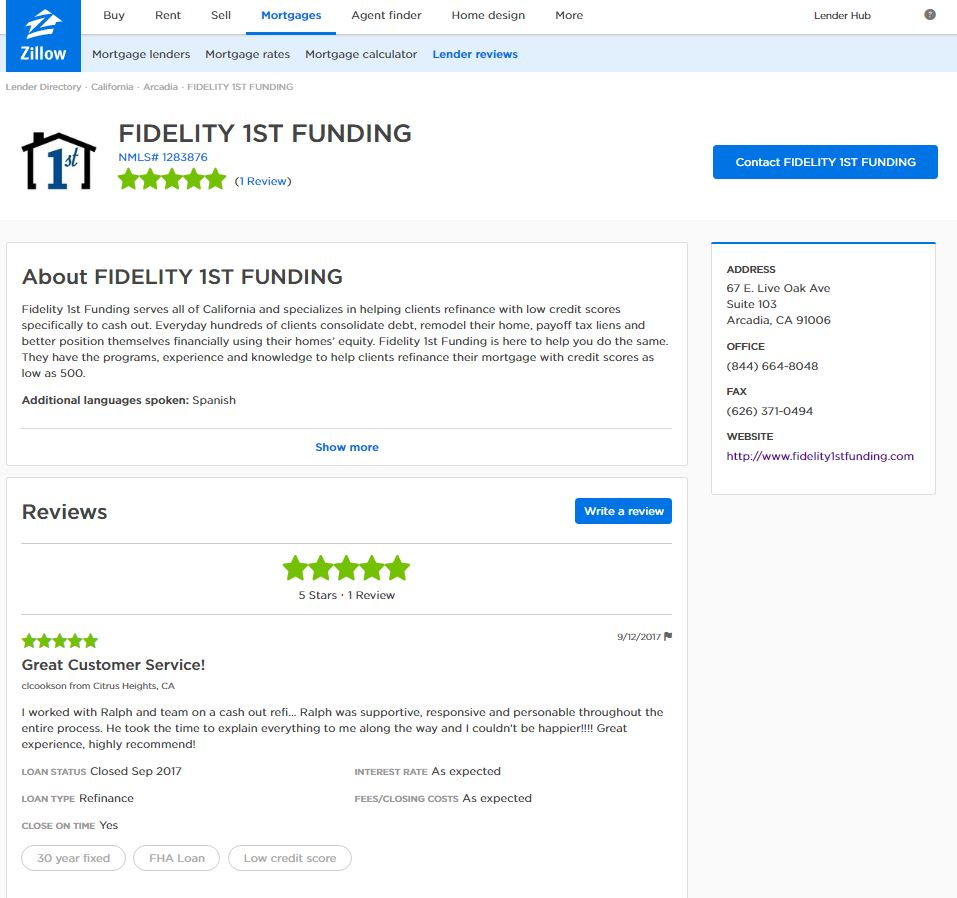 Review Us Fidelity 1st Funding
